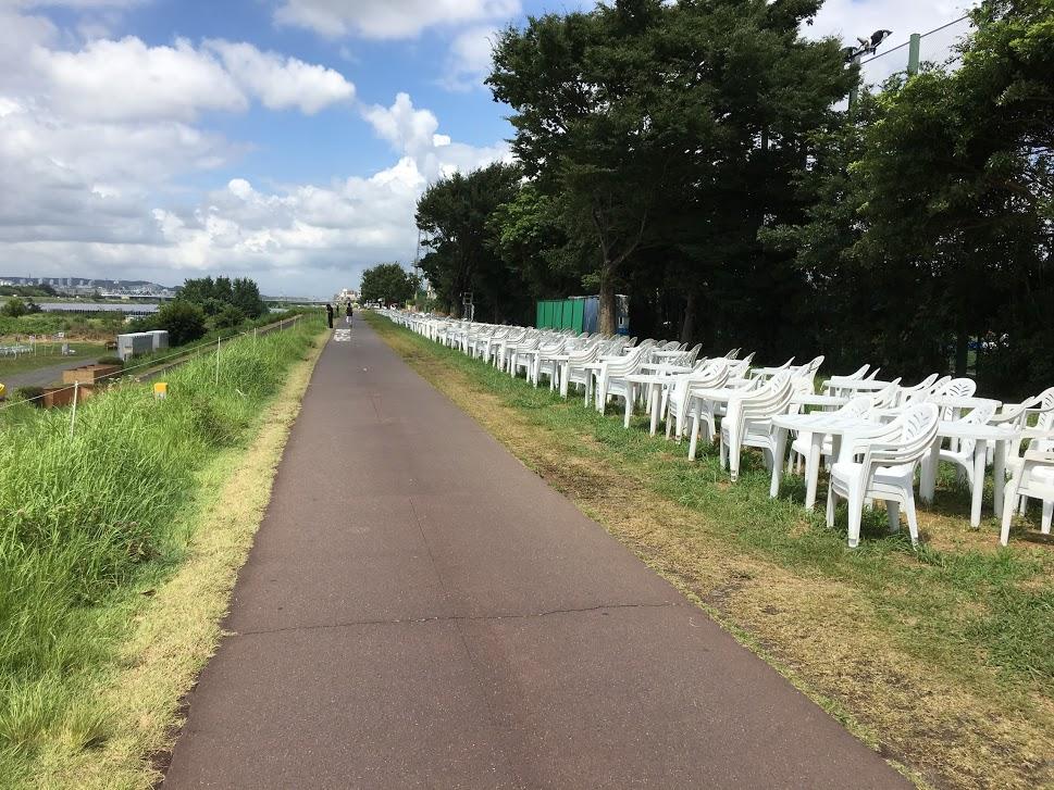 サイクリング道路に設けられた座席